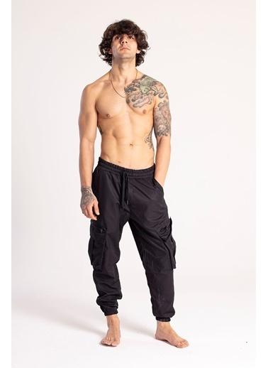 XHAN Siyah Kargo Cep Jogger Pantolon  Siyah
